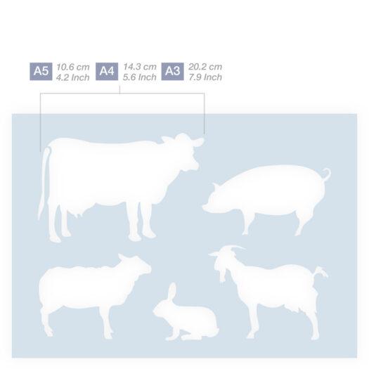 Boerderij dieren stencil sjabloon