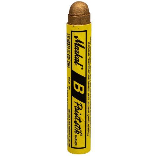 Markal Paintstik B met de kleur goud. Verfstift toepasbaar op diverse ondergronden, zoals hout, staal en beton. Het gemak van een krijt stift. Ideaal voor graffiti art.