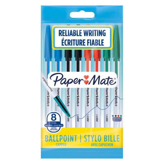Papermate 045 balpennen multipack voor schrijven en schetsen met een 1mm punt zwart, blauw, rood en groen