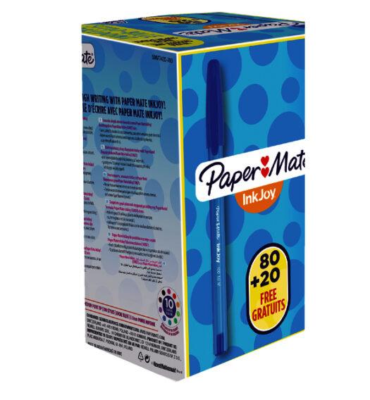 Papermate Inkjoy voordeelverpakking 100x blauwe pennen voor schrijven