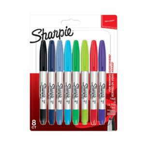 Sharpie Twin Tip set heeft aan de ene kant een viltstift marker en aan de andere kant een fijne fineliner. De set bestaat uit acht kleuren.