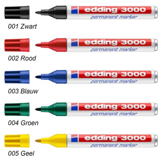 Edding 3000 permanent marker zwart rood blauw groen geel