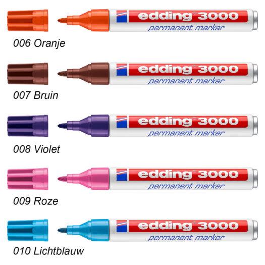 Edding 3000 permanent marker oranje bruin paars roze blauw