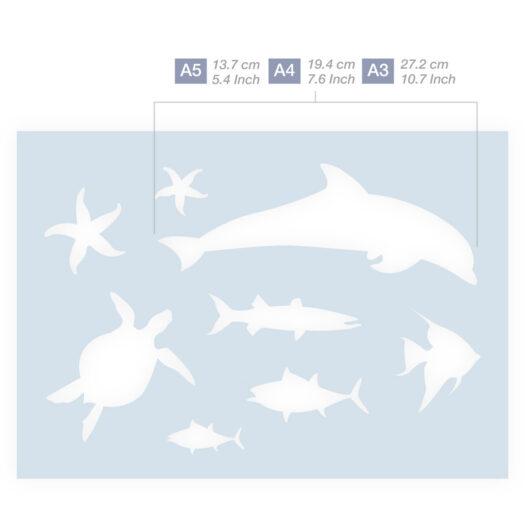 Vissen sjabloon zeedieren stencil